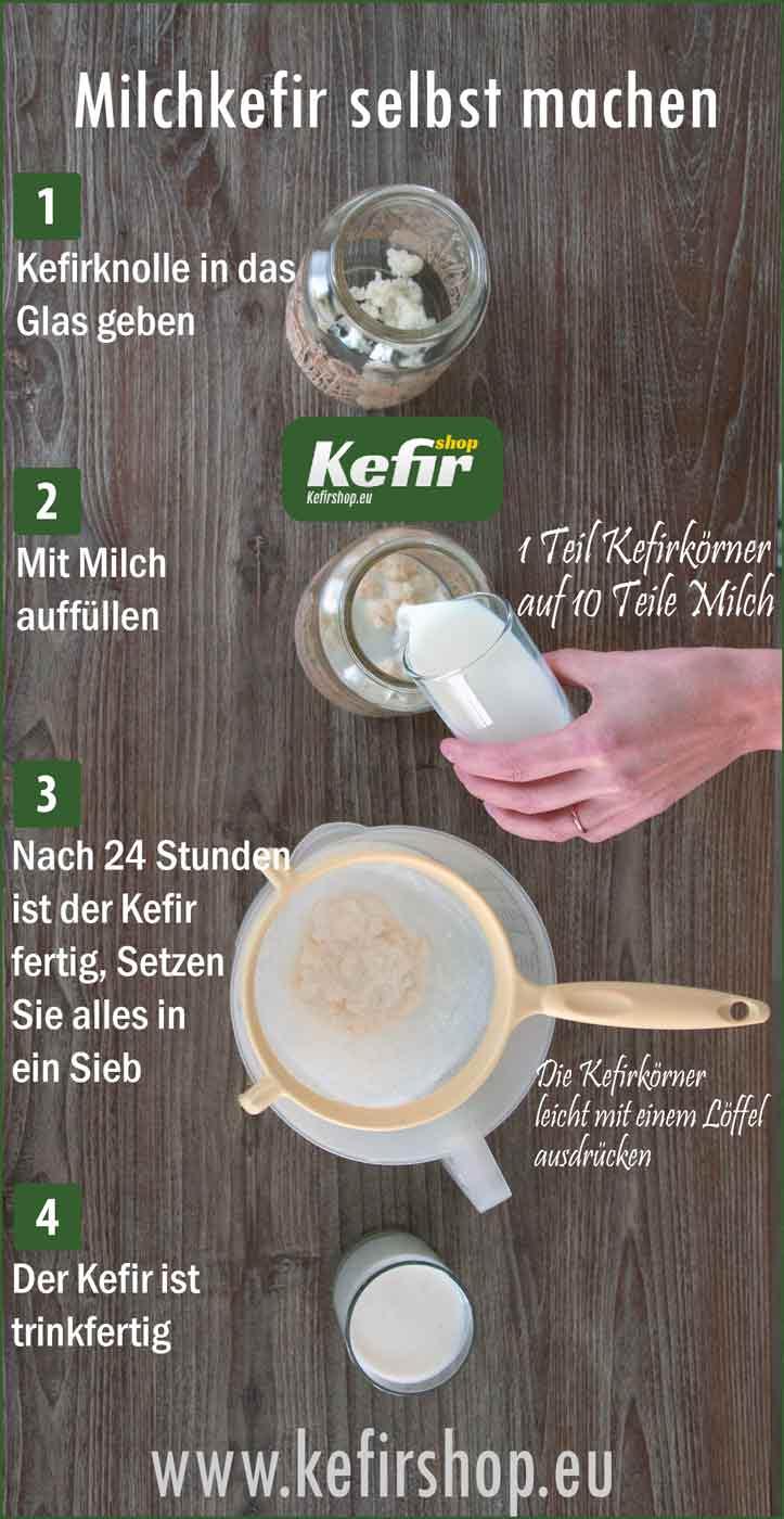 Frischen MilchKefir selbst herstellen mit kefirknollen